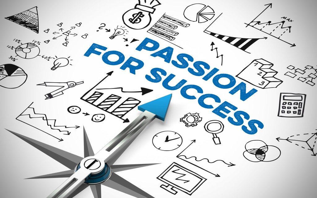 Passion for Success in Business concept on a compass (3D Rendering)